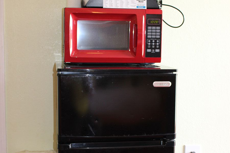 microwave and refrigerator
