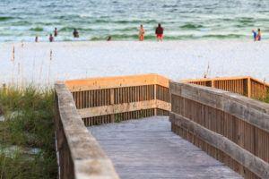 Walkway to a white sand beach in Panama City Beach.
