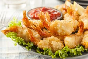 Delicious fried shrimp.