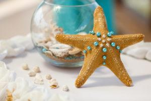 A gold starfish decoration.