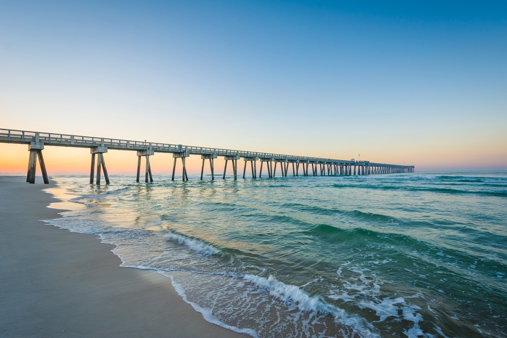 Pier at Panama City Beach at sunrise